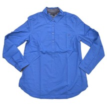 Tommy Hilfiger Women's Roll Tab Long Sleeve Blouse Top  Blue  Various Sizes - $17.79