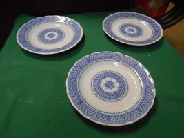 "Beautiful Kingstone By Nikko ""Heavenly Blue"" Set Of 3 BREAD-SALAD-DESSERT Plates - $15.65"