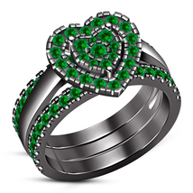 3Pcs Heart Shape Engagement Ring Set Green Sapphire Black Gold Finish 92... - $136.99