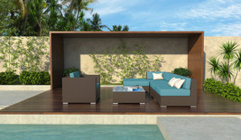 6 Piece Brown Wicker Outdoor Sectional Patio Set Hyde New - £852.57 GBP