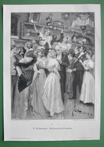 CHRISTMAS RAFFLE Ladies in Fine Dresses Fans - VICTORIAN Era Original En... - $13.49
