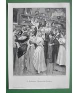 CHRISTMAS RAFFLE Ladies in Fine Dresses Fans - VICTORIAN Era Original En... - $13.49