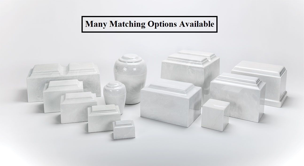 Classic Marble White & Black 50 Cubic Inch Cremation Urn For Ashes, TSA Approved