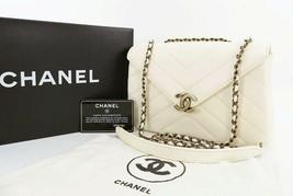 Authentic CHANEL White Chevron Lambskin Leather Chain Shoulder Flap Bag #27847 - $2,549.00