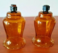 Vintage HOMCO Home Interiors Tall Amber Glass Votive Cup Candle Holder 70's - $24.75