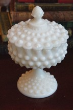 "VINTAGE MILK GLASS HOBNAIL ROUND FOOTED COMPOTE COVERED CANDY DISH 8"" H ... - $79.99"