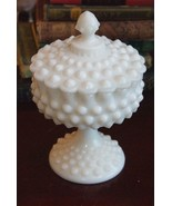 """VINTAGE MILK GLASS HOBNAIL ROUND FOOTED COMPOTE COVERED CANDY DISH 8"""" H ... - $79.99"""