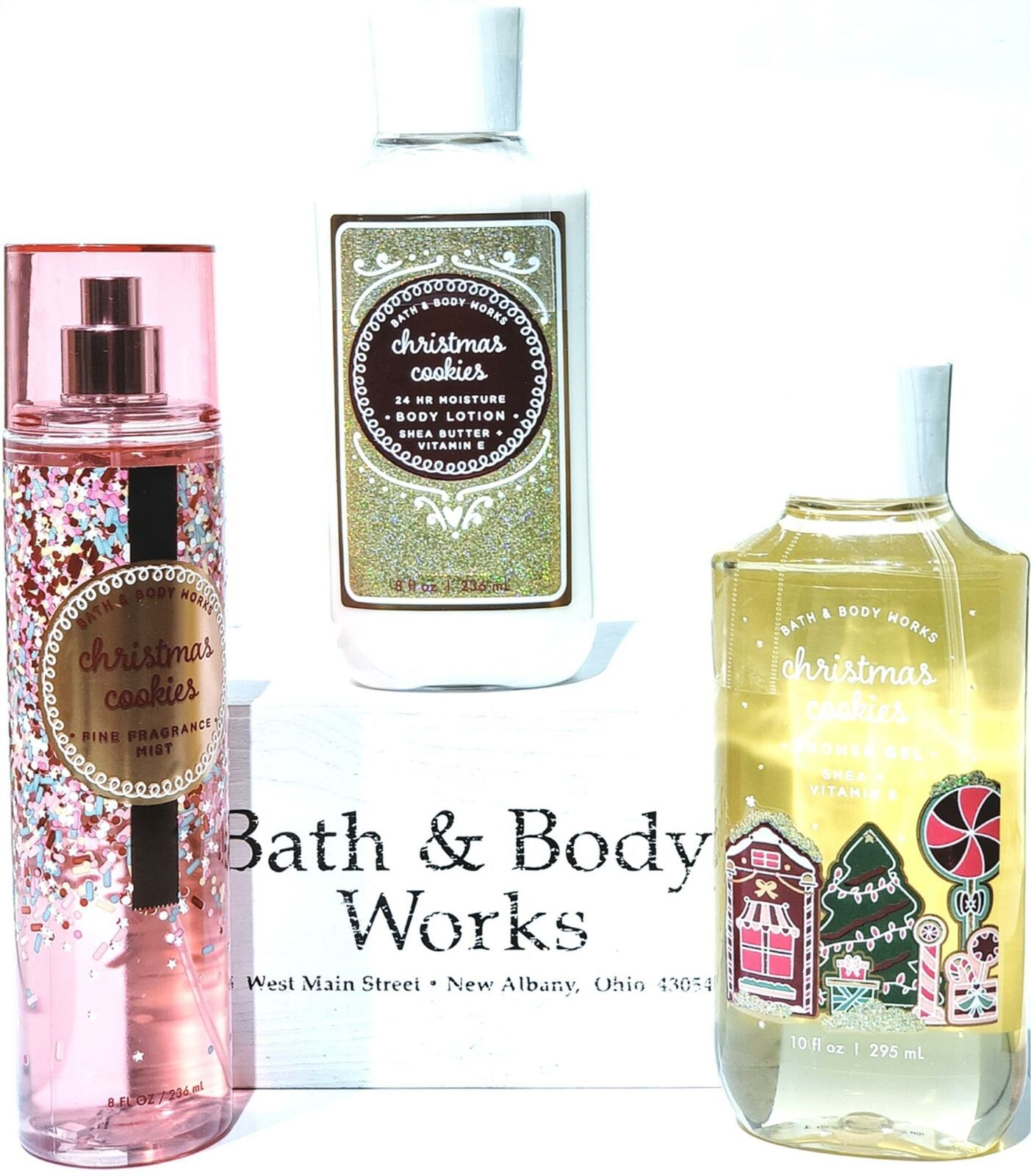 Primary image for Bath and Body Works Christmas Cookie Body Lotion, Bath Gel, Body Mist