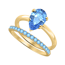 Pear Cut Blue Topaz 14k Yellow Gold Over 925 Silver Engagement Bridal Ring  - $81.59