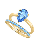 Pear Cut Blue Topaz 14k Yellow Gold Over 925 Silver Engagement Bridal Ring  - $424.99