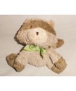Carters Raccoon Tan Brown Green Bow Plush Stuffed Animal Baby Soft Toy S... - $24.63