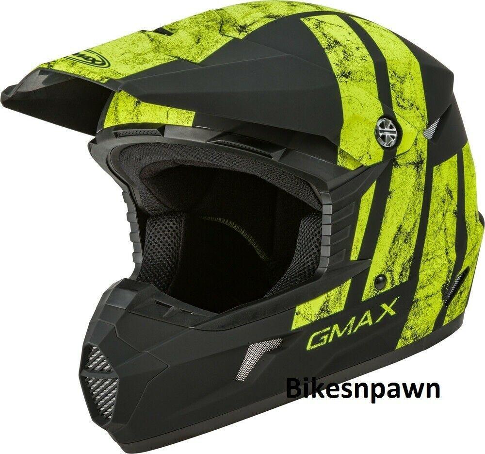 New Adult XS Gmax GM46 Dominant Matte Black/Hi-Viz Offroad Helmet DOT