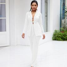 Women's Stylish White Blazer and Pants Fashion Wear To Work  Pant Suit image 2