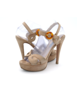 Prada Womens 7.5 Tan Ultra High Stiletto Buckle Ankle Strap Platform Hee... - $59.99