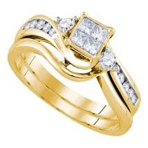 10k Yellow Gold Diamond Princess Bridal Wedding Engagement Ring Set 1/2 - $845.20
