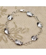 .925 Sterling Silver FAS Belief Faith Dream Hope Love Laugh Bracelet - $39.58