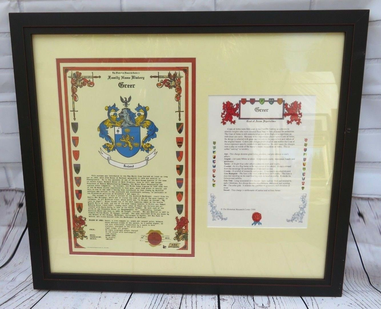 Primary image for CREER FAMILY NAME HISTORY CREST COAT OF ARMS HISTORICAL RESEARCH CENTER FRAME