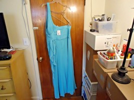 "Womens Davids Bridal "" NWT "" Size 18 Color Pool One Shoulder Dress "" BEA... - $93.49"