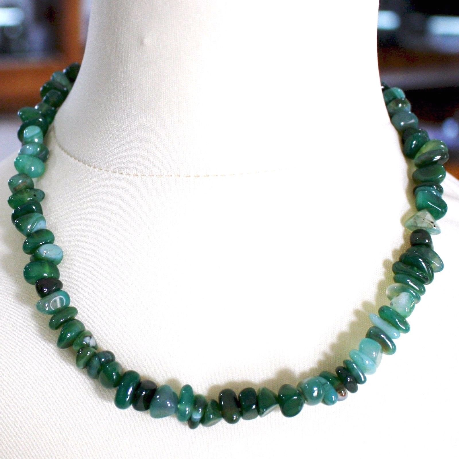 925 Silver Necklace with Agate Green Striated, 50 or 75 cm length