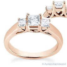 Square Brilliant Princess Moissanite 14k Rose Gold 3 Three-Stone Engagem... - £413.32 GBP+