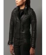 New Women's Pure Lambskin Leather Biker Jacketa Black  Racer Motorcycle ... - $225.00