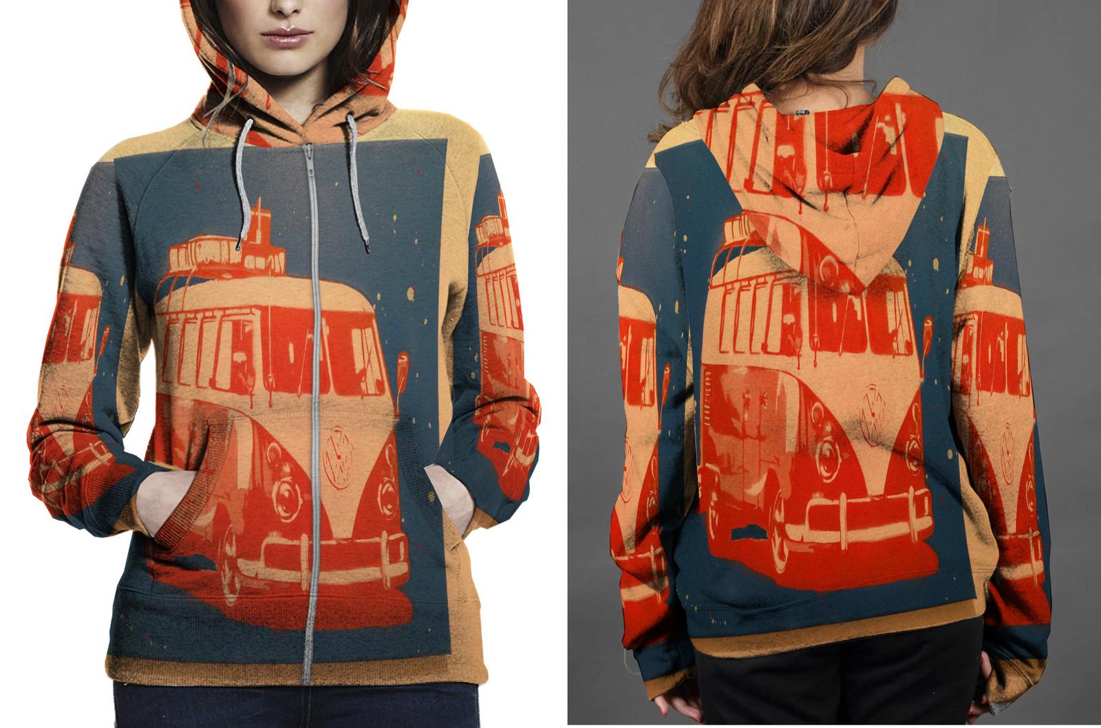 Vw camper van zipper hoodie women s