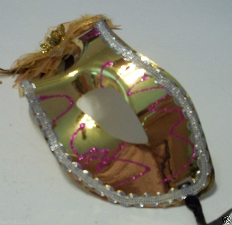 Pretty Flower Mardi Gras Mask Colorful Choice of Pink Red Gold Silver Green