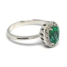 White Gold Ring 750 18K, Flower, Emerald 0.73 Oval, Diamonds, Italy Made image 2