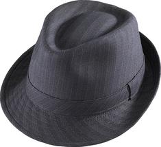 Henschel Polyester Poly Cotton Blend Stingy Brim Fedora Pinstripe Black - $48.00