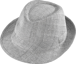 Henschel Polyester Cotton Blend Gentleman Fedora Stingy Brim Plaid Gray ... - £31.30 GBP