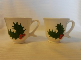 Vintage Pair of White Ceramic Coffee Cups With Green Holly, Red Berries ... - $29.70
