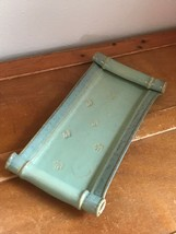 Artist Signed Grayish Blue & Green Stamped with Rolled Ends Pottery Reli... - $19.39