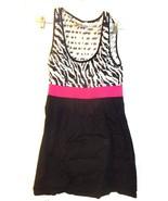 Size Jrs L - Later Black & White Stretch Dress w/Pink Elastic Waistline - $18.99