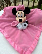 Disney MINNIE MOUSE Baby Security Blanket Pink Rattle Crinkle Sounding Ears - $7.91