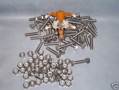 50 Stainless Steel Hex Bolts w/ Nuts M10 x 1.5 x 45 mm