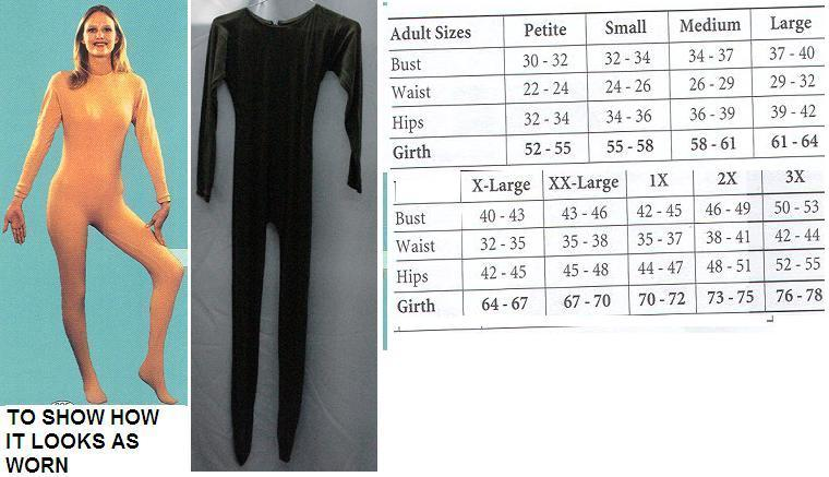 ADULT UNITARD LADIES LG BLACK FULL BODY SUIT