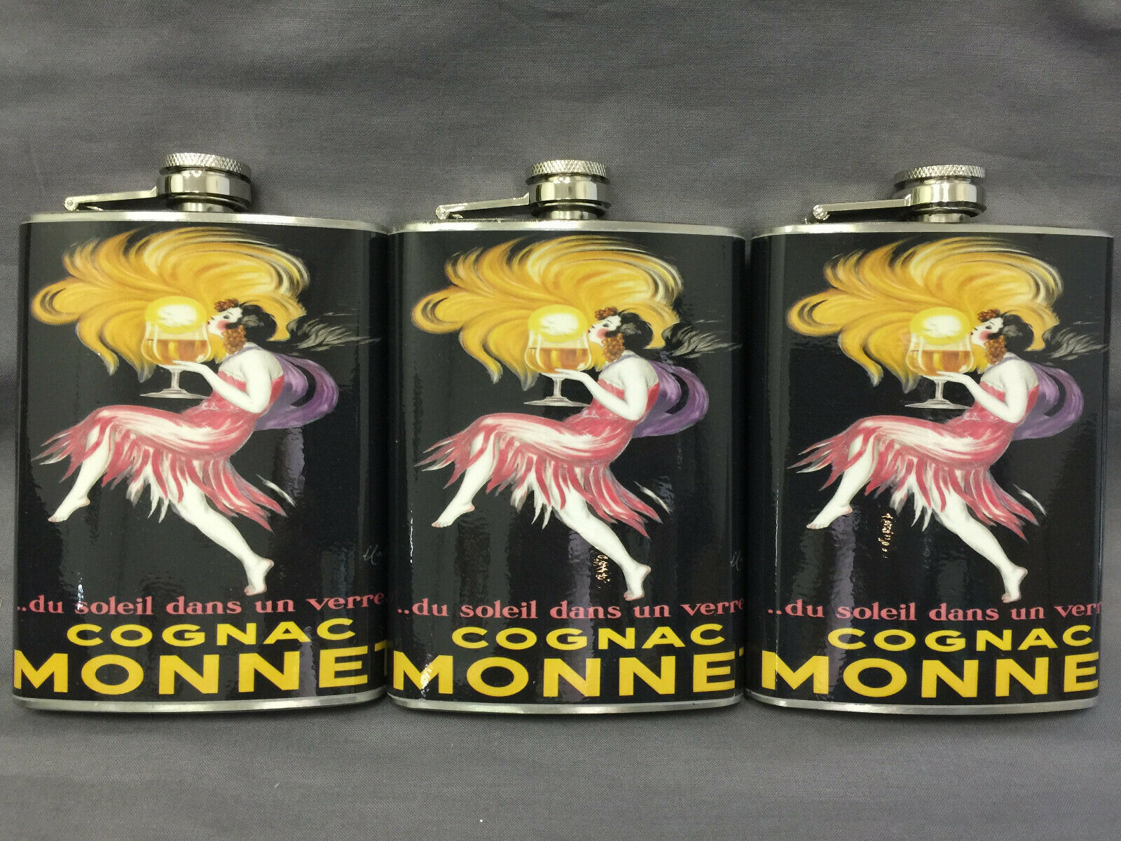 Set of 3 French Cognac Monnet Flasks 8oz Stainless Steel Hip Drinking Whiskey