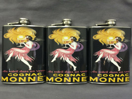 Set of 3 French Cognac Monnet Flasks 8oz Stainless Steel Hip Drinking Wh... - $21.73