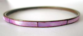 Vintage Retro Bangle Bracelet Brass Gold Tone Metal Fuchsia Purple Shell... - $6.19