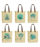 World Famous Landmark Beige Printed Canvas Tote Bags Leather Handles WAS_30 - £18.99 GBP