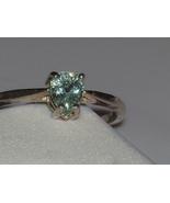 New Sterling Silver ring sz 7 ~ .44ct Blue Green Paraiba Tourmaline Cert... - $165.00