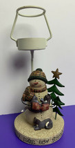 Snowman with Cats Easily Make Friends Tealight Holder Christmas Yankee C... - $19.79