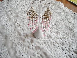 Fashion Earrings Pink Faceted Glass Beads & Pink Rhinestones Gold Tone Filigree image 2