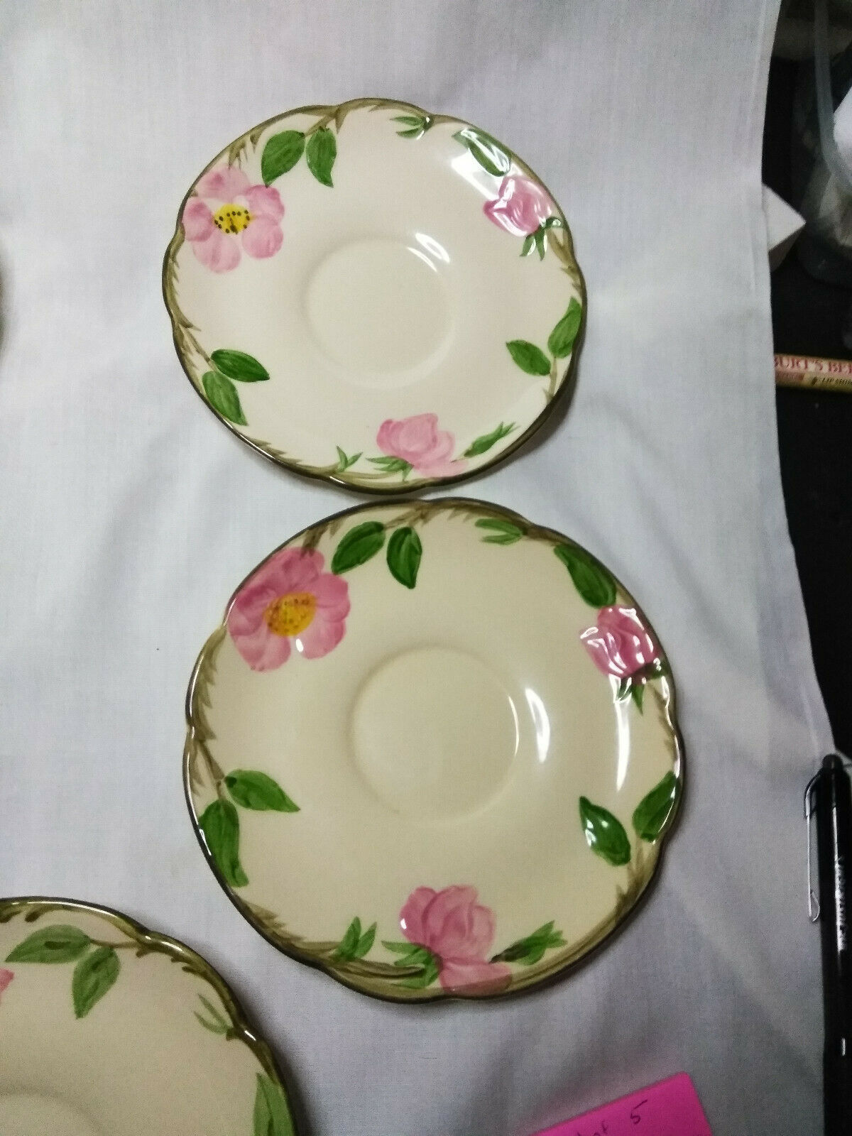 Vintage Franciscan China Desert Rose Set of 5-5.5 inch Saucer Plates