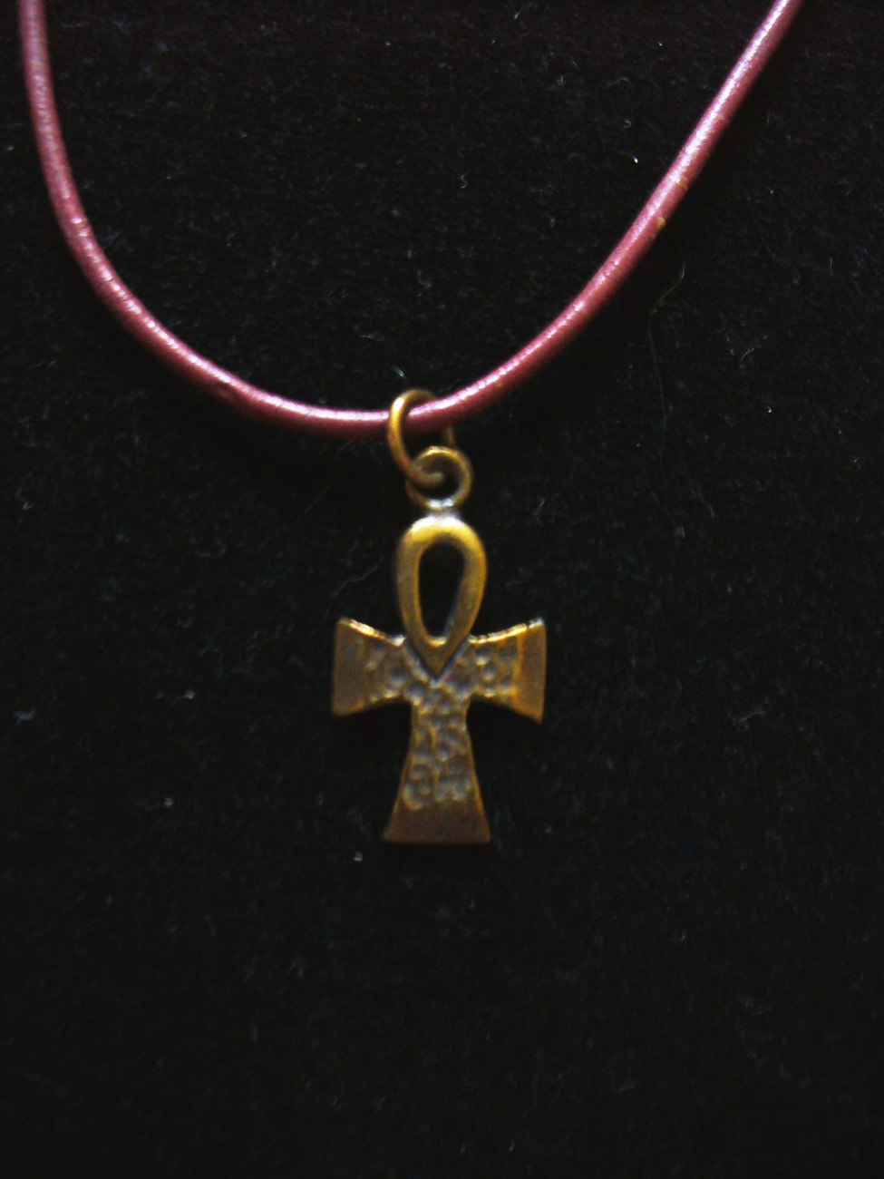 Brass Ahnk Pendant on Burgundy Leather