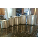 Vtg Mid Century Spun Aluminum Canister Lot Flour Sugar Coffee Tea Grease... - $92.30
