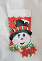 """Design Works Handmade Finished 18"""" Poinsettia Snowman Stocking  - $128.00"""