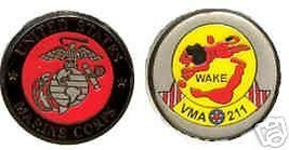 USMC VMA-211 MARINE CORPS WAKE ISLAND  CHALLENGE COIN - $16.24