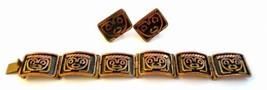 Vintage 1960s 70s Taxco Mexico Modern Mixed Metals MASKS Bracelet & Earr... - $125.00