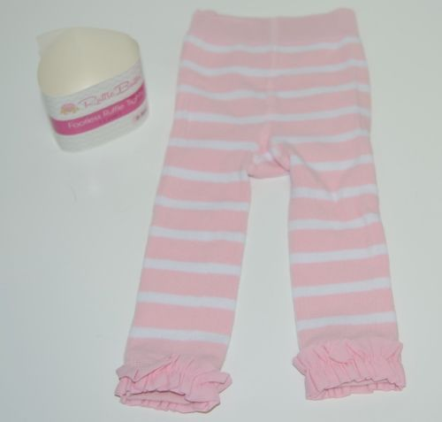 RuffleButts RLKP100WS00 Pink Stripe Ruffle Footless Tights Size 0 to 6 Months